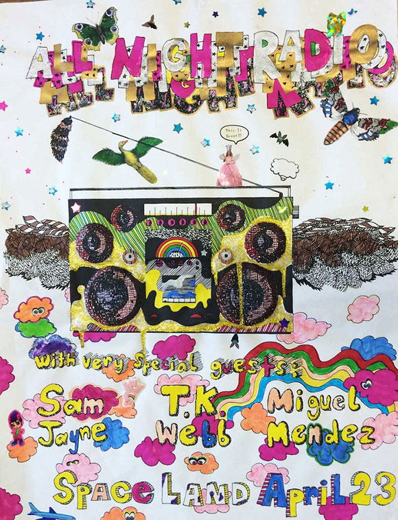 "Jason Yates, ""All Night Radio,"" 2004, Mixed-media on paper 24 x 18 inches | Courtesy c.nichols project."