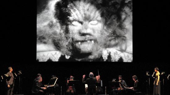 """Philip Glass Emsemble performing """"La Belle et La Bete."""""""