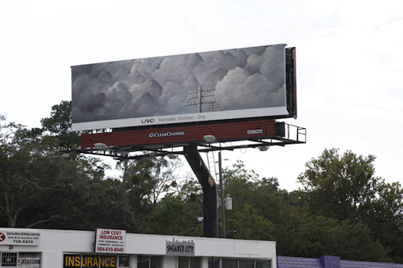 "Shana Lutker, ""Onward and Upward,"" 10 billboards, Jackonville, FL, 2013.  A LAND Exhibition: The Manifest Destiny Billboard Project. 