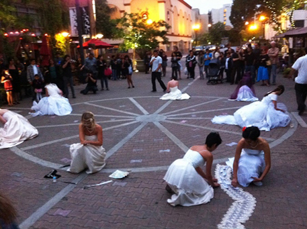The Nine performing Guerrilla Gowns in downtown Santa Ana.