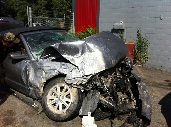 Lorigan and Rocha's car after wreck in 2011.