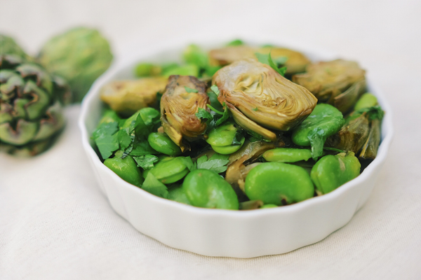Braised Baby Artichokes with Fava Beans