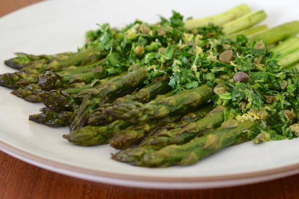 Roasted Asparagus with Tarragon-Caper Gremolata