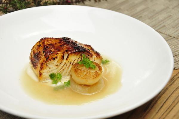 Honey Mustard Black Cod with Onion Broth