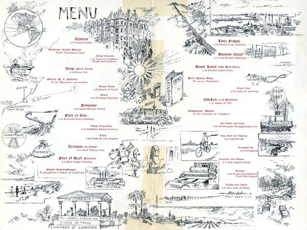 From 'To Live and Dine in L.A.: A Century of Menus from the Collection of the Los Angeles Public Library' by Josh Kun, published by Angel City Press.
