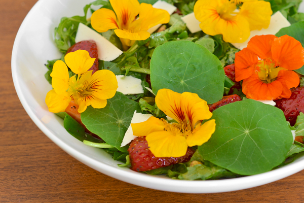Nasturtium and Strawberry Salad with Lemon-Poppy Seed Dressing