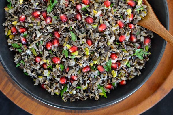 Pomegranate and Pistachio Wild Rice Salad