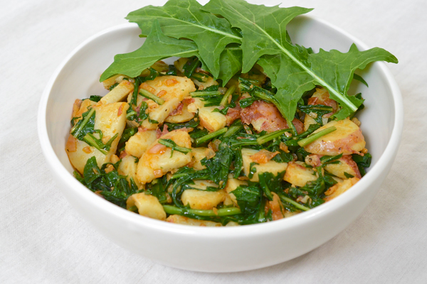 Smoky, Garlicky Potatoes and Dandelion Greens