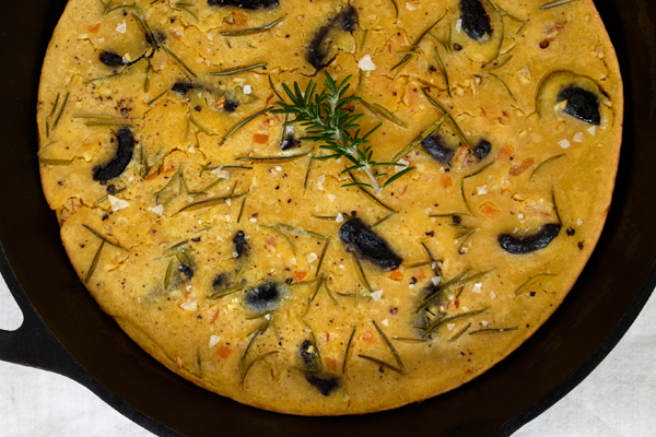 Socca with Olives, Rosemary and Preserved Lemon