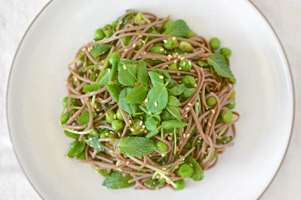 Soba Salad with Peas and Pea Shoots