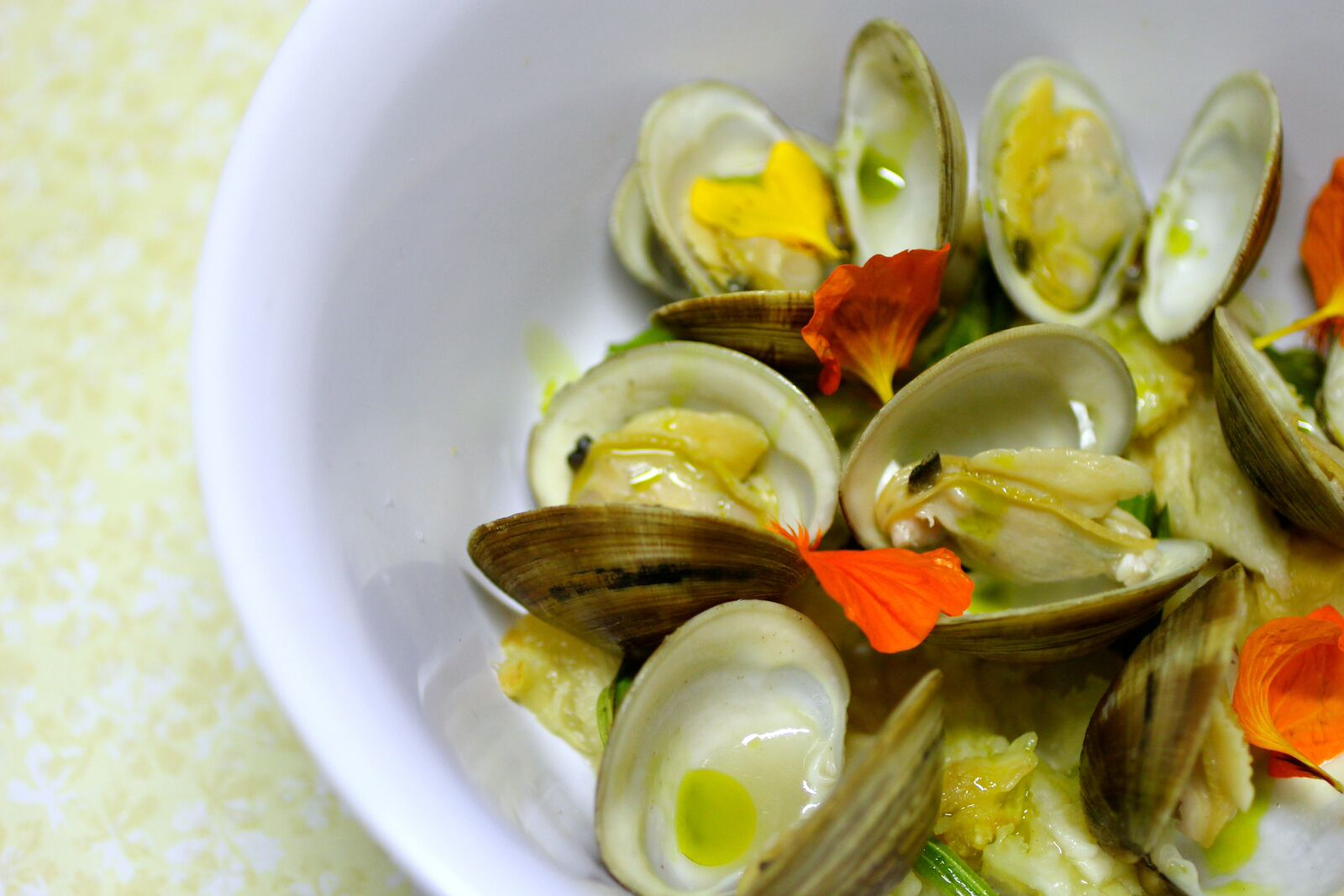 Clams and nasturtiums