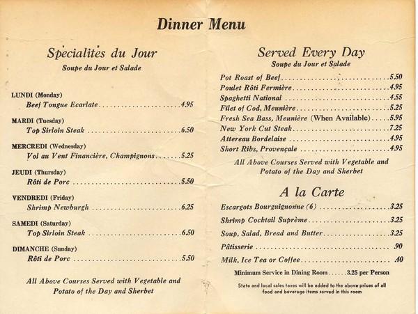 Tower Cafe Dinner Menu