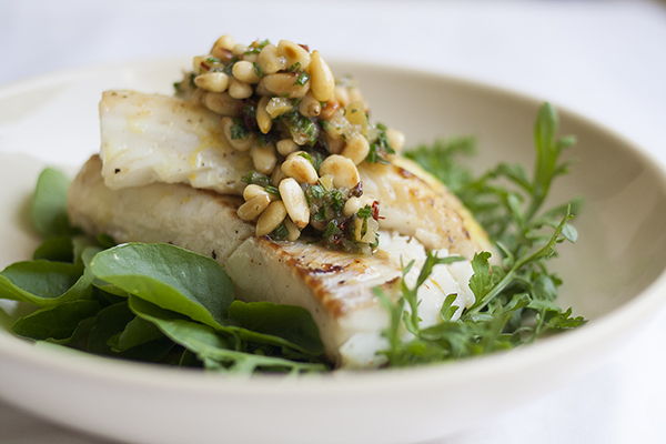 Cod with Preserved Lemon and Pine Nut Relish | Photo by Maria Zizka