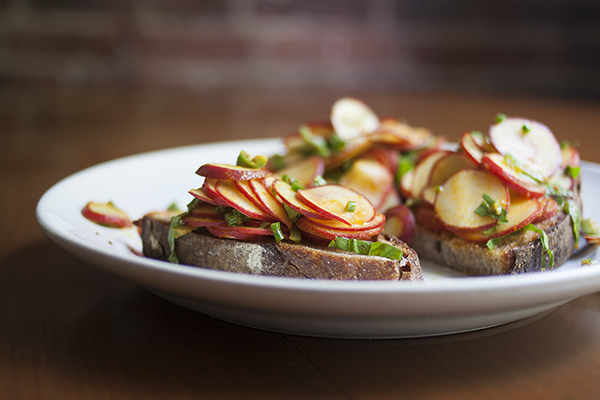 Skillet Toast with Radish-Olive Salad | Photo by Maria Zizka
