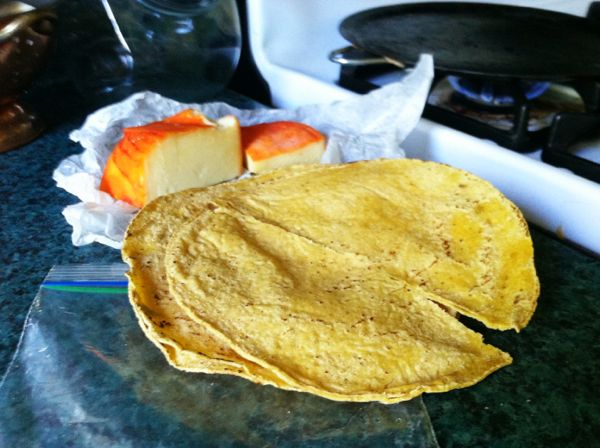 Tortillas brought from Mexico, made with only corn, lime and water