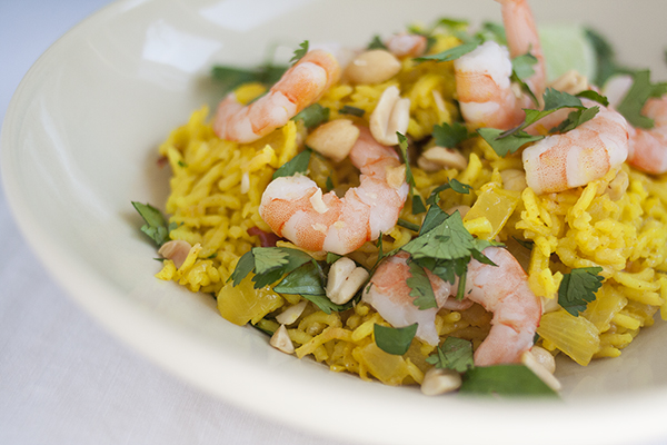 Turmeric Rice Pilaf with Coconut Milk and Shrimp