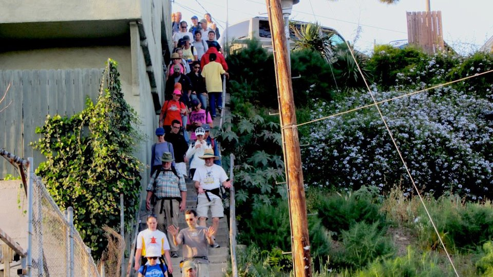 The Big Parade heads down a staircase in 2012. | Photo: Zach Behrens/KCET