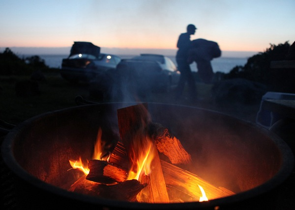 Campfire at Kirk Creek Campground in Big Sur, which is part of Los Padres NF