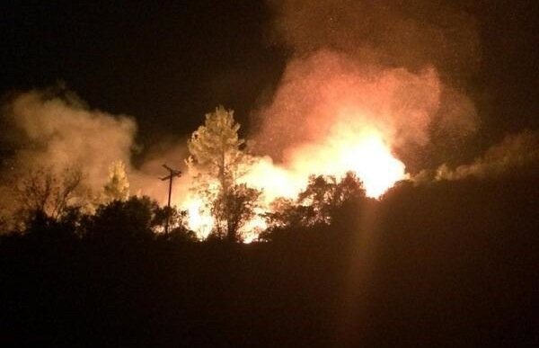 The Colby Fire seen at night. | Photo: Courtesy InciWeb