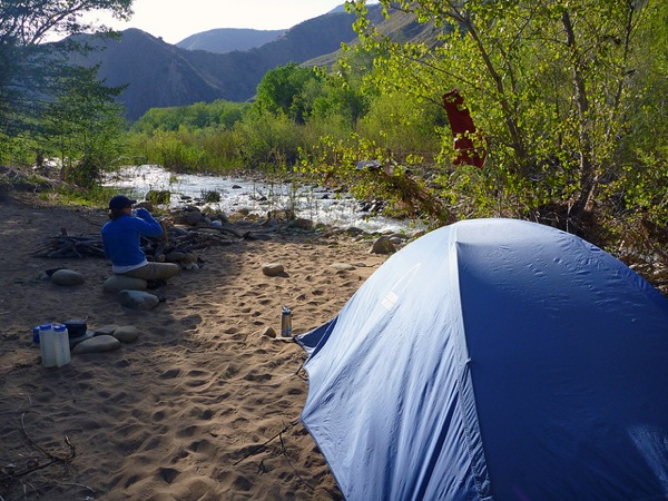 A backpacker rests near Willett Hot Springs, which is about 10 miles from the Piedra Blanca trailhead in Los Padres National Forest.