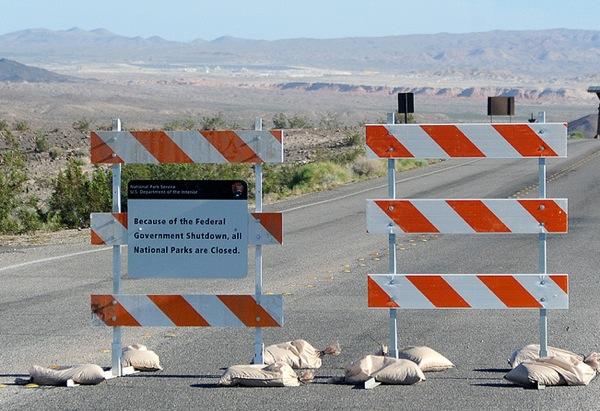 Barricades block an entrance to Lake Mead National Recreation Area outside Las Vegas. | Photo: Courtesy NPCA