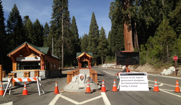 Gates closed at an entrance into Sequoia and Kings Canyon National Parks because of the 2013 government shutdown. | Photo: Courtesy NPS
