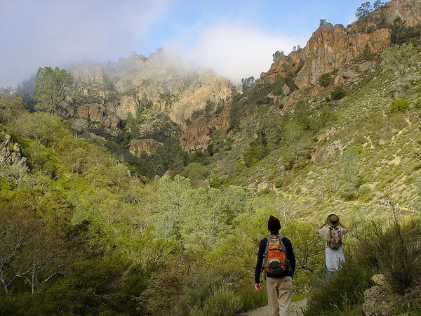 Hikers in Condor Gulch in Pinnacles National Park.