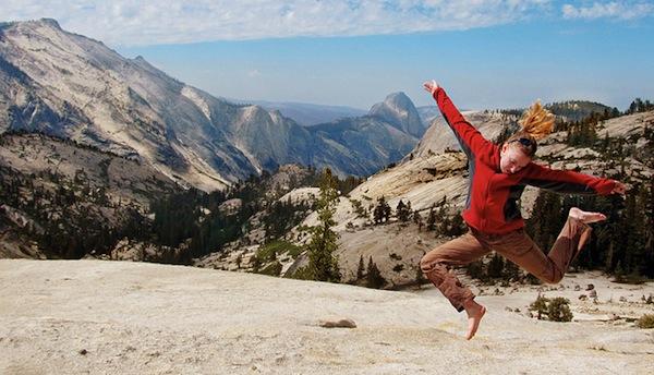 Jumping for joy at Yosemite National Park.