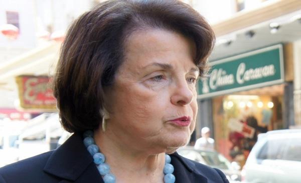 Senator Feinstein at a 2012 press event.