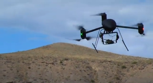 The Draganflyer X6 drone in a promotional video from Draganfly Innovations Inc. See the video below.