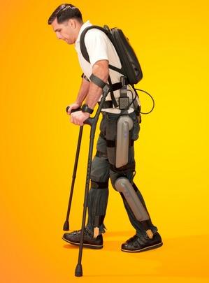 Derek Herrera, a Marine who is paralyzed from the chest down, uses a robotic exoskeleton to walk. | Photo: Courtesy ReWalk Robotics