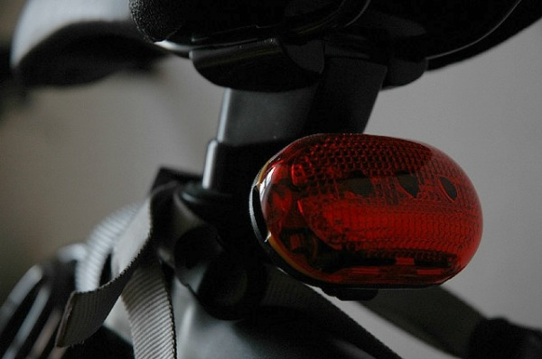 A rear bicycle light.