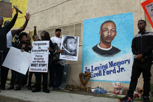 A Dec. 1 protest in South L.A. that ended at the spot where Ezell Ford was fatally shot by police last August.