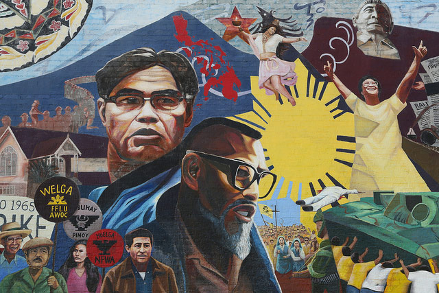 A mural in Historic Filipinotown highlighting the legacy of prominent Filipino American leaders. Larry Itliong is featured at center bottom.