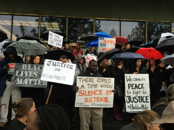 Lawyers protesting at the Stanley Mosk Courthouse. | Photo: Courtesy Helen Yum/Lawyers for Black Lives