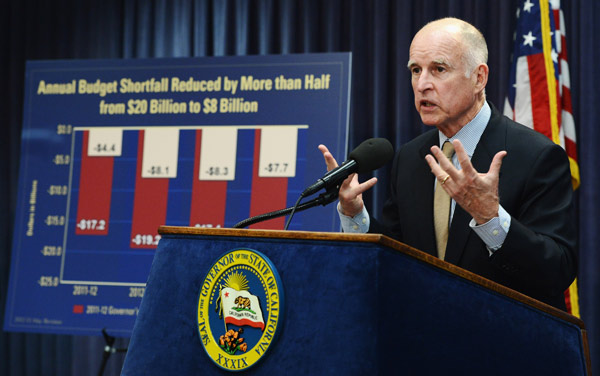 Gov. Jerry Brown in May discussing $8.3 billion in cuts to help close a projected $16 billion budget shortfall. (Photo: Kevork Djansezian/Getty Images)