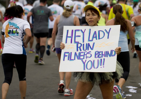 A protestor's sign at the America's Finest City Half Marathon and 5K on August 18, 2013