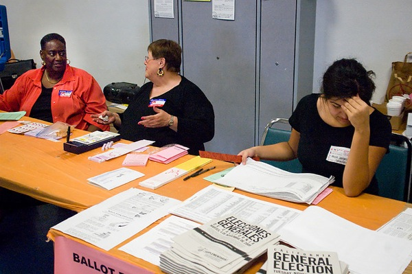 Pollworkers at a 2008 election in Los Angeles.