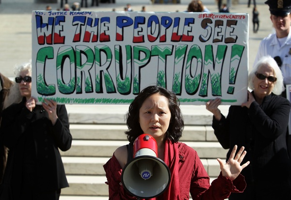 Annabel Park, Co-founder of the Coffee Party, speaks during a protest about the Citizens United case in front of the U.S. Supreme Court in February 2012. | Photo: Alex Wong/Getty Images
