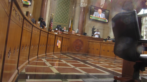 Within the L.A. City Council chambers. | Photo: Zach Behrens/KCET