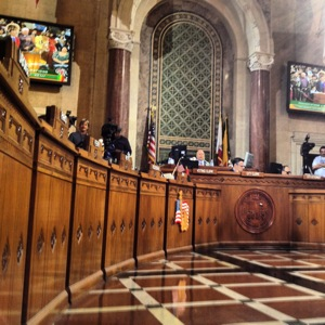 Inside the L.A. City Council Chambers. | Photo: Zach Behrens/KCET