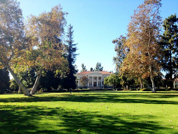 Marston Quad, looking west to Carnegie Building, Pomona College.