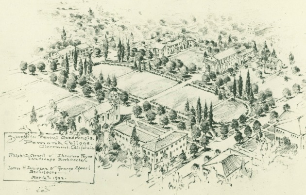 Ralph Cornell's plan for a central Quadrangle within Pomona College. | Photo: Special Collections, Claremont Colleges Library