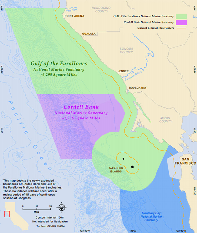The expanded boundaries of the Gulf of the Farallones and Cordell Bank. | Map: Courtesy NOAA