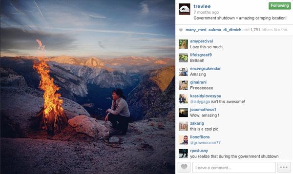 A campfire lit at Eagle Peak, Yosemite National Park.