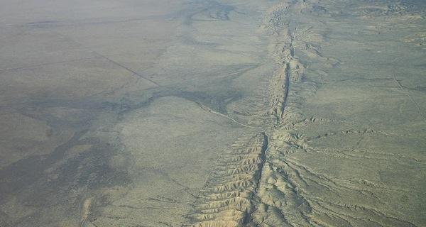 The San Andreas Fault in Central California's Carrizo Plain.