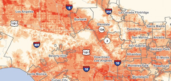 Detail of the potential rooftop solar panel density. | Map: UCLA/Luskin