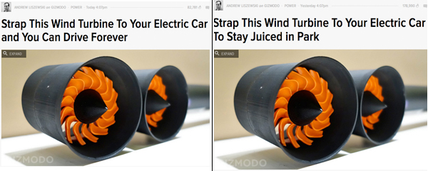 Gizmodo's original headline (left) and the new one (right).