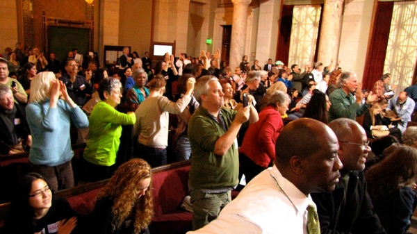 The large crowd at today's meeting gave a joyous reaction after the L.A. City Council unanimously moved the fracking proposal forward. | Photo: Courtesy Kent Minault