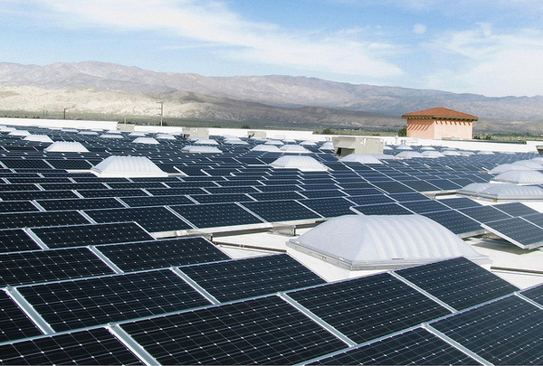 Solar on a big-box rooftop in the California desert.
